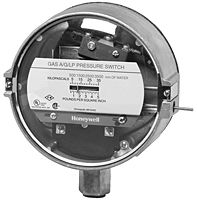 Honeywell Item # C437E2010, C437 2000-Series Gas/Air Pressure Switch- The C437D Gas Pressure Switches are pressure-actuated switching devices used in industrial gas system applications for safety shutoff, pressure control, and differential-pressure control.