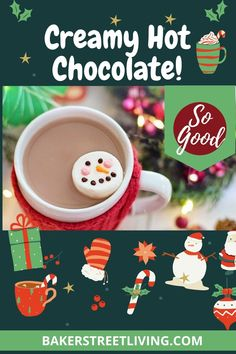 Perfect Hot Chocolate recipe doe a cold day. Cozy up with a cup and relax. Diy Whipped Cream, Cream Mugs, Hot Chocolate Recipes, Easy Diy, Relax, Cozy, Homemade, Tableware, Dinnerware