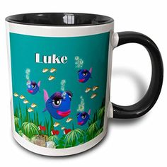 3dRose mug_51201_4 This Vibrant Artwork of Fish Under The Sea is Personalized with The Name Luke Two Tone Black Mug 11 oz BlackWhite *** Click on the image for additional details.