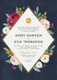 Navy, berry colors, blush and gold painterly blooms wedding invitation.