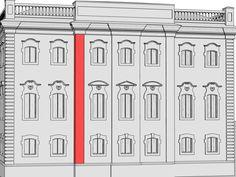 Лопатка – узкий и плоский вертикальный выступ в стене, в отличие от пилястры, не имеющий капители. Хотя в этом здании использованы именно лопатки, раскрепованный карниз над ними создает своеобразную капитель, и они смотрятся как пилястры.
