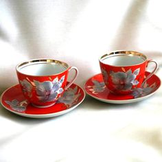 Vintage Russian Tea Set for Two - China Teacup - Baranovsky Porcelain Cups Saucers - Greetings - Red Orange - 1970s - from Russia / USSR