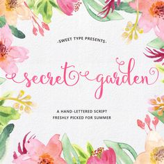 Secret Garden Hand-lettered Script, Calligraphy Cursive Font Download Commercial or personal by SweetTypeDesign on Etsy https://www.etsy.com/listing/233820444/secret-garden-hand-lettered-script