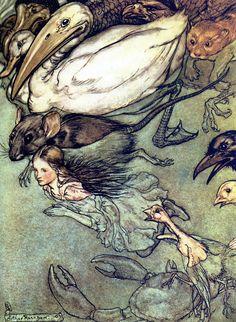 The Pool of Tears - Alice's Adventures in Wonderland by Lewis Carroll,1907 - Arthur Rackham