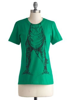 Hear You Roar Tee - Mid-length, Cotton, Knit, Green, Black, Print with Animals, Casual, Quirky, Nifty Nerd, Short Sleeves, Crew