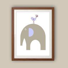 Nursery Art - Elephant Nursery Decor - Lilac And Gray Nursery - Lavender Nursery Wall Art - Cute Elephant And Bird