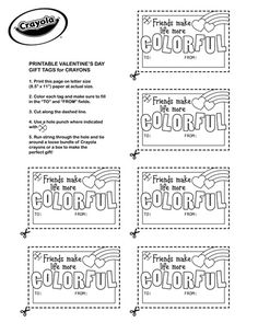 Create colorful valentines for your friends! Sized perfectly for Crayola Crayon boxes these make a colorful gift. Valentines Day Activities, Valentines Diy, Free Printable Gift Tags, Free Coloring Pages, Crayons, Printables, Lettering, Handwriting Sheets, Object Lessons