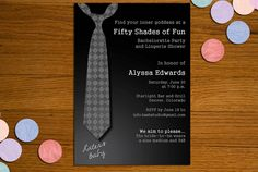 50 Shades of Grey Printable Invitation - Bachelorette Party, Lingerie Shower. $15.00, via Etsy.