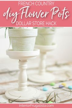 These French Country Farmhouse DIY Flower Pots with pedestal bases are an easy dollar store hack and such a charming budget-friendly Spring and Summer decor idea. They would make lovely wedding guest favors too and the possibilities for filling the pretty painted clay pots are endless! Click to read more on how to make them at Interior Frugalista #frenchcountrystyle #dollarstorepots #paintedclaypots #springdecor #summerdecor #weddingguestfavors