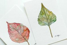 Flower Drawing How to Paint a Leaf in Watercolors - I know it's a little late in the season for fall decor, most of you are already thinking about Christmas by now, right? Well, lets give one last hoorah for fall with some Watercolor Leaf Art! Pen And Watercolor, Watercolor Leaves, Watercolour Painting, Painting & Drawing, Watercolors, Watercolor Video, Watercolour Tutorials, Watercolor Techniques, Painting Lessons