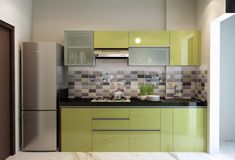 A simple minimal one wall kitchen cabinet design with compact style // Small Indian modular kitchen design Simple Kitchen Design, Kitchen Room Design, Interior Design Kitchen, Modular Kitchen Indian, Kitchen Modular, Indian Kitchen, Kitchen Cupboard Designs, Small Kitchen Cabinets, One Wall Kitchen