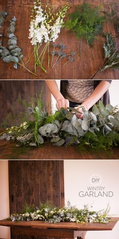 a simple Wintry garland that you can whip up yourself. Photography by http://www.jessamynharrisweddings.com/ and styling by http://daisyroseflowers.com/