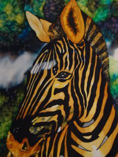 My silk painting of a Zebra by Michele Shute