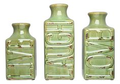 Set of 3 Crackled 'Live Laugh Love' Vases (Olive Green) *** Read more reviews of the product by visiting the link on the image. (This is an affiliate link) #Vases