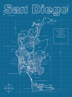 Philadelphia artistic blueprint map by maphazardly on etsy 3000 san diego artistic blueprint map malvernweather Gallery
