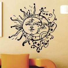 Wall Decal Vinyl Sticker Sun And Moon Crescent Ethnic Dual Symbol Stars Night Sunshine Wall Decals Murals Bedroom Dorm Art Home Decor Z714