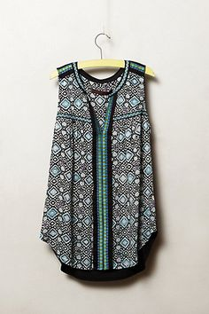 Kakali Tank #anthropologie I love the prints and the construction, this top would be even better with long sleeves
