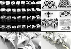 Continuous Shells_Triple Periodic Minimal Surfaces   This research investigates the application of Triple periodic continuous minimal surfaces in the design of shell structures. It presents different formal outcomes derived from the implementation of a computational algorithm which generates Minimal surfaces having a Quadri-rectangular Tetrahedron as a kaleidoscopic cell, as well as derived from the inclusion of those preliminary results into a parametric system.