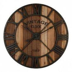Klok Vintage Bruin - Wanddecoratie - Eminza Decoration, Clock, Wall, Home Decor, Pile Aa, Design Moderne, Images, Products, Inspiration