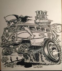 The only authorized dealer of original monster art by Von Franco Car Drawing Pencil, Cartoon Car Drawing, Cartoon Rat, Automotive Design, Automotive Carpet, Automotive Solutions, Automotive Decor, Cool Car Drawings, Garage Art