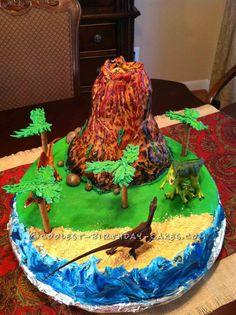 Easy Erupting Volcano Birthday Cake... This website is the Pinterest of birthday cake ideas