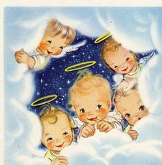 sweet angel faces and this vintage Christmas card Vintage Christmas Images, Retro Christmas, Vintage Holiday, Christmas Pictures, Christmas Art, Xmas, Vintage Greeting Cards, Christmas Greeting Cards, Christmas Greetings