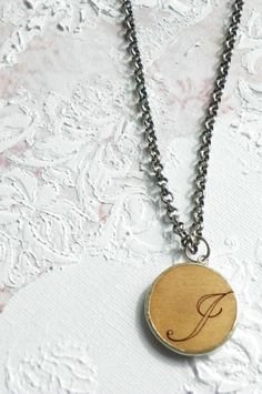Letter J Ransom Notes Initial Necklace by paigebarbeejewelry