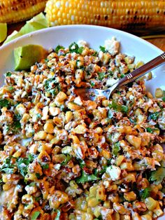 Mexican Cilantro Lime Corn Crema - Easy and delicious creamy, tangy Mexican street corn, the prefect summer side dish!