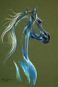 Arabian horse by Paulina Stasikowska - Schöner Leben / The Beauty of Life - Horse Drawings, Animal Drawings, Art Drawings, Horse Sketch, Horse Artwork, Animal Paintings, Horse Paintings, Equine Art, Pastel Art