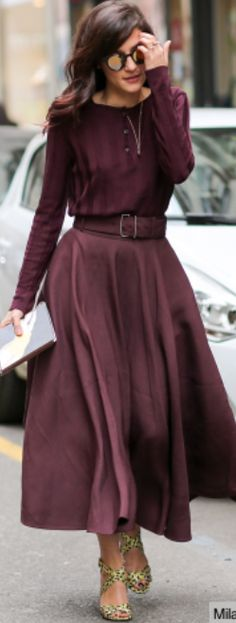 Burgundy flare Dress.