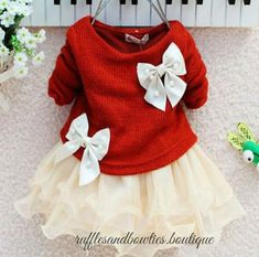 PRE ORDER - Oh those Bows Girls Sweater Christmas Dress - Girls Christmas…