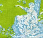 """Quadrille """"Bagatelle"""" in Turquoise on Pistachio"""