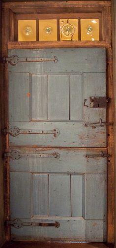 beautiful blue doors, Dutch door and bullseye glass Door Knockers, Door Knobs, Transitional Doors, Transitional Style, Cool Doors, Door Gate, Decoration Originale, Grand Entrance, Closed Doors