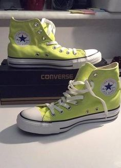 Kup mój przedmiot na #vintedpl http://www.vinted.pl/damskie-obuwie/obuwie-sportowe/10322094-limonkowe-trampki-converse-nowe-modny-kolor