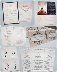 Blush Pink and Navy Blue Swirl Scrollwork & Monogram wedding invitations, photo save the dates, programs, menus & table numbers