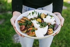 Roasted Mixed Potatoes with Spring Herbs and Burrata Fresh Chives, Fresh Basil, Burrata Cheese, Purple Potatoes, Potato Sides, Lemon Herb, Serving Plates, Jacuzzi, Kung Pao Chicken