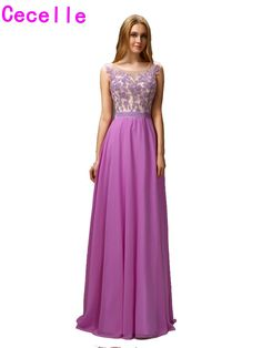 >> Click to Buy << 2017 Maxi Long A-line Lilac Long Prom Dresses Sleeveless Beaded Lace Appliques Chiffon Floor Length Formal evening Prom Gowns #Affiliate