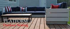Platform Outdoor Sectional | Ana White Diy Outdoor Furniture, Outdoor Rooms, Furniture Plans, Outdoor Decor, Easy Woodworking Projects, Easy Diy Projects, Deck Building Plans, Cedar Raised Garden Beds, Bookshelf Plans