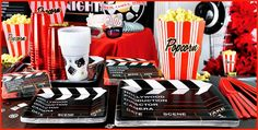 off Clapboard Hollywood party tableware! Shop for Clapboard Hollywood party supplies, Clapboard Hollywood decorations, party favors, invitations, and more. Hollywood Party Decorations, Dinner Party Decorations, Party Centerpieces, Baby Shower Decorations, Party Favors, Movie Night Party, Party Time, Movie Nights, Game Night