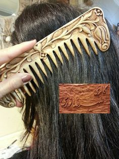 comb designed and carved by me Chip Carving, Bone Carving, Wood Comb, Small Figurines, Wood Carving Patterns, Biscuit, Wooden Art, Whittling, Hair Sticks