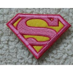 Superman Logo Pink Iron on Sewing on Embroidered Patch Badge Art Craft Easy to Iron on Jeans, Hat, T-shirt, Bag, Cushion etc