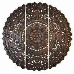 Relief Wandbild Teak Holz rund dreiteilig 90cm dunkel
