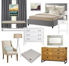 A contemporary bedroom in soothing tones for $2,800.