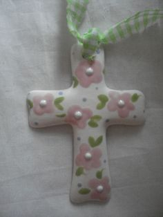 Pink flowers cross.Measures 3.5 gloss finish. by potteryandpillows (Home & Living, Home Décor, Ornaments & Accents, Ornaments, birthday, pink, christian gift, wedding, bridesmaid, flower girl, baby, cross, baptism, flowers)