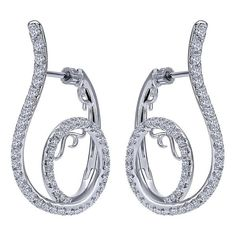Gabriel NY | Unique diamond swirl hoop earrings