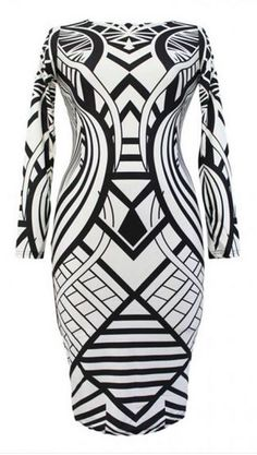 Love Black + White! Boat Neck Long Sleeve Geometric Art Deco Print Bodycon Dress Fashion #Black_and_White  #Art_Deco #BodyCon #Dress #Fashion