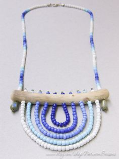 Handmade Tribal Driftwood Necklace Blue White by BetweenSeasons, $53.00