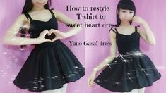 DIY-How to restyle T- shirt to sweet heart dress(easy)- Anime Yuno Gasai inspired costume