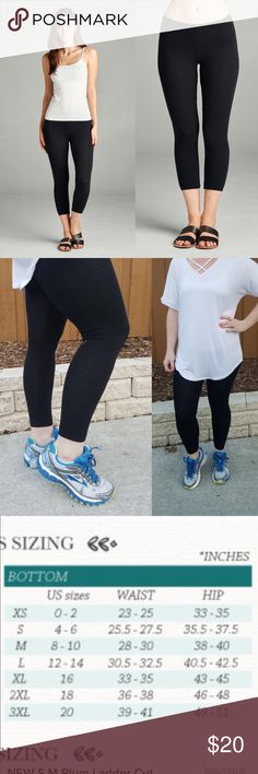 """NEW S,M,L Black Capr Leggings poly/span 95% cotton 5% spandex Capri length black knit leggings.  Yes to bundle discounts, no trades. True to size.  (I am 5'3"""" so in the modeled pic with the running shoes they may appear long on me.) white tee in pic also available in another listing while supplies last!)  Black leggings, leggings,  spring pants, Yoga, running, Tunic leggings, knit pant active usa Pants Leggings"""