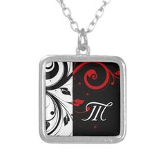 Black and Red Swirly Vines Monogram Letter pendant necklace